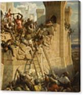 Guillaume De Clermont Defend La Ville D'acre, 1291 Canvas Print