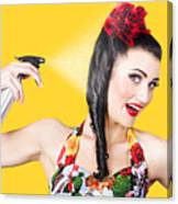 Haircare. Brunette Pinup Woman Using Hair Product Canvas Print