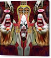 Halloween Scary Clown Heads Mirrored Canvas Print