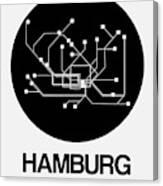 Hamburg Black Subway Map Canvas Print