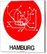 Hamburg Red Subway Map Canvas Print