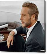 Hand Colored Picture Of Paul Newman Canvas Print