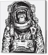 Hand Drawn Monkey Astronaut Vector Canvas Print