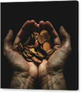 Hands Holding Coins Against Black Canvas Print