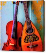 Hanging Violin And Mandolin Canvas Print