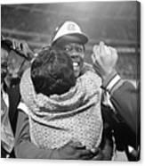 Hank Aaron Hugging His Mother Canvas Print