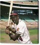 Hank Aaron Of The Milwaukee Braves Canvas Print