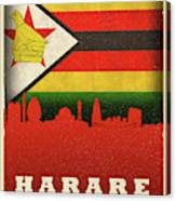 Harare Zimbabwe World City Flag Skyline Canvas Print