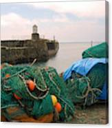 harbour pier and fishings nets at Pittenweem, Fife Canvas Print