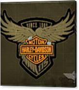 Harley Davidson Old Vintage Logo Fuel Tank Motorcycle Brown Background Canvas Print