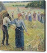 Haymaking At Eragny, 1891 Canvas Print