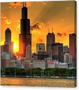 Hdr Chicago Skyline Sunset Canvas Print
