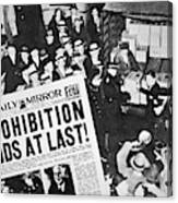 Headline Declaring The End Of Prohibition, 6th December, 1933 Canvas Print
