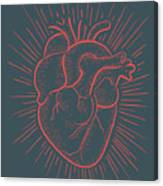 Heart On Red Canvas Print