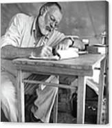 Hemingway On Safari Canvas Print