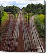 High Angle View Of Empty Railroad Tracks Canvas Print