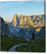 Hiker In The Morning Canvas Print