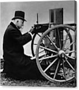 Hiram Maxim Firing His Maxim Machine Gun - 1884 Canvas Print