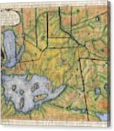 Historical Map Hand Painted Lake Superior Norhern Minnesota Boundary Waters Captain Carver Canvas Print
