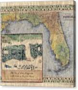 Historical Map Hand Painted St. Augustine Canvas Print