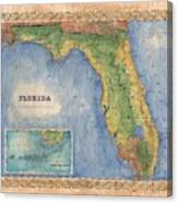 Historical Map Hand Painted Vintage Florida Colton Canvas Print