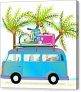 Holiday Summer Trip Bus For Beach Canvas Print