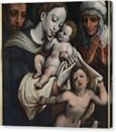 Holy Family With Elisabeth And John The Baptist  Canvas Print