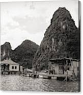 Homes On Ha Long Bay Boat People  Canvas Print