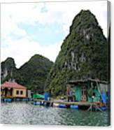 Homes On Ha Long Bay Gulf Of Tonkin  Canvas Print