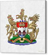 Hong Kong - 1959-1997 Coat Of Arms Over White Leather  Canvas Print