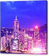 Hong Kong City Skyline In China Canvas Print