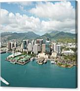 Honolulu Skyline Shot From A Helicopter Canvas Print