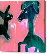 Horse And Rabbit On Pink Canvas Print
