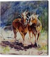 Horses On Work Canvas Print