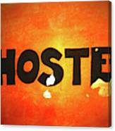 Hostel Sign On Wall Canvas Print
