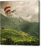 Hot Air Balloons Over Tea Plantations Canvas Print