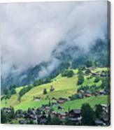 Houses And Green Pastures Line Canvas Print