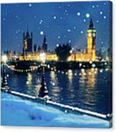 Houses Of Parliament In Snow In London Canvas Print
