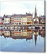 Houses Reflection In River, Honfleur Canvas Print