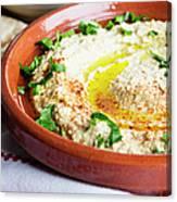 Hummus Mediterranean Style Canvas Print