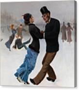 Ice Skaters, C. 1920. Artist Klinger Canvas Print