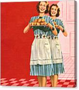Identical Women Serving Rolls Canvas Print
