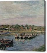 Idle Barges On The Loing Canal At Saint-mammes Canvas Print