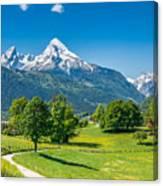 Idyllic Summer Landscape In The Alps Canvas Print