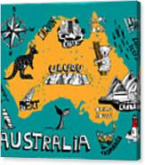Illustrated Map Of Australia Canvas Print