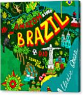 Illustrated Map Of Brazil Canvas Print