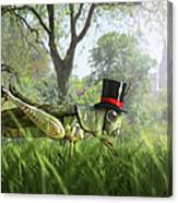 Illustration Of Cricket Wearing Monocle Canvas Print