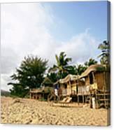 India, Goa, Beach Huts On Agonda Beach Canvas Print
