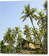 India, Goa, Beach Huts On Palolem Canvas Print