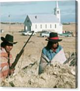 Indian On Guard At Wounded Knee Canvas Print
